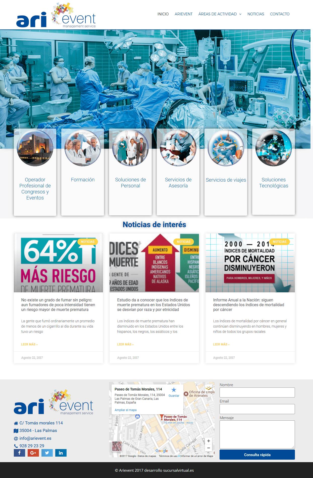 arievent diseño web agencia de viajes y eventos